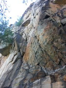 Rock Climbing Photo: Route follows two cracks up to mini roof