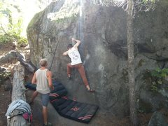 Rock Climbing Photo: The starting holds can be seen to the climbers rig...