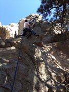 Rock Climbing Photo: Launching into the crux.