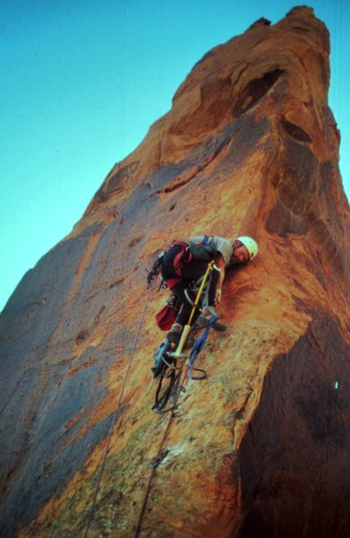 Paul Ross on the final pitch First Ascent Moab Rim Tower