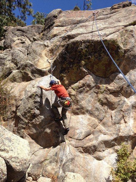Rock Climbing Photo: Starting the weird crux.