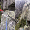 Kevin on the FA. Traverse and face climb of pitch 3.