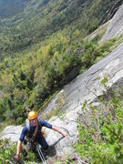 Rock Climbing Photo: Dan Plumley topping out on pitch 1 during the FA.
