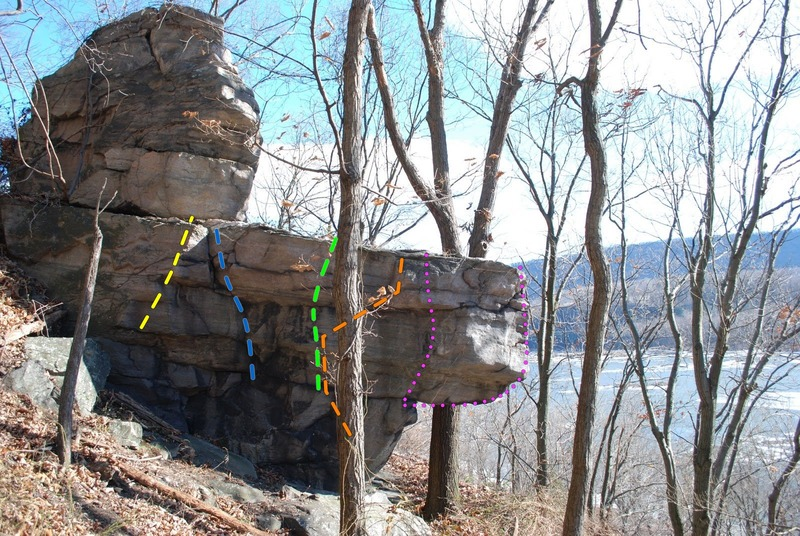 Outcrop at the far right end of the area. BiCeption is in the middle of the face (green line). Slinky and the Slime Mold (blue line). Finger Fillet (yellow line). Crimp, Lock, and Pop-it (orange line). The pink lines are considered nice projects with not so nice landings.