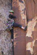 Rock Climbing Photo: Attempt at the on sight with a serious metal skirt