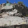 Headwall start of Kanarado.<br> Climb Scotch on the Rocks or Jack Straw to get here.<br> <br> (Lin Murphy on rap'.)