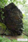 Rock Climbing Photo: Holds highlighted for Underground Railroad and Ten...