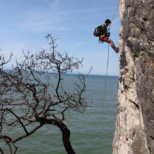 Rappelling off the bolted anchor.