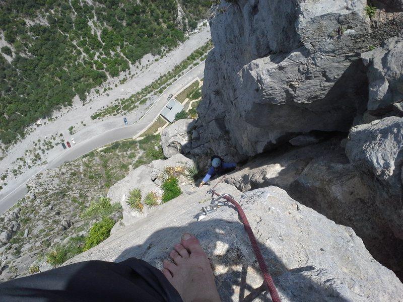 on the summit belaying derek