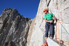 Josh belaying on South Summit Wall