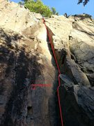 Rock Climbing Photo: Just left of the 2 obvious black stripes (climber'...
