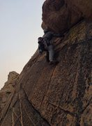 Rock Climbing Photo: up the corners. New route on the crest. 9/7/15