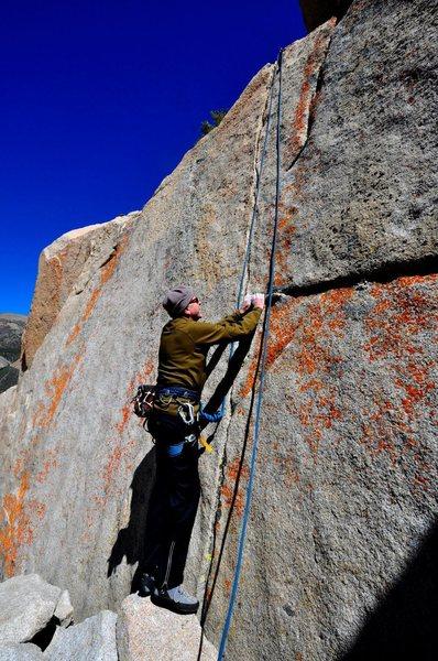 "Rock Climbing Photo: Richard Alden beginning ""One Crack Below&quot..."