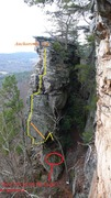 Rock Climbing Photo: Squabbler from the Wolfe Wall.  Yellow line shows ...