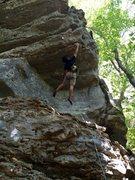 Rock Climbing Photo: The dynamic reach that starts the crux