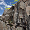 """Topo of """"Hidden Technology"""" (5.11a lb) between """"Hostile Witness"""" OW and """"Side Effects"""" chimney."""