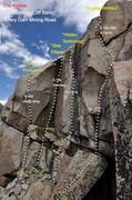 """Rock Climbing Photo: Topo of the """"Side Effects"""" chimney betwe..."""