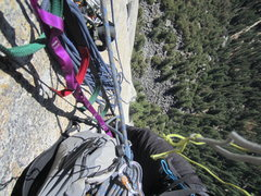 Rock Climbing Photo: looking down from p6