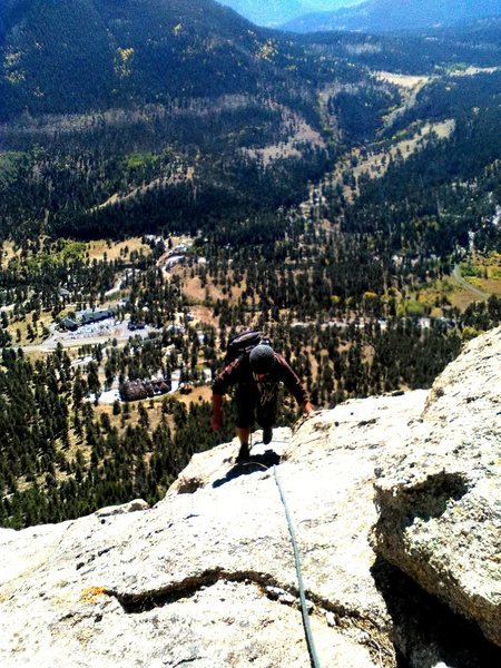 Rock Climbing Photo: Topping out Direct- McGregor's Slab, RMNP