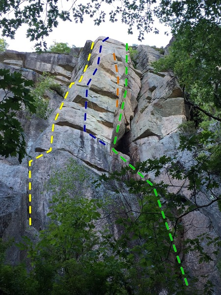 Rock Climbing Photo: The routes, eliminates, and variations on the Bent...