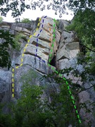 The routes, eliminates, and variations on the Bent Buttress at the PLB.  <br />The Book of Eli (yellow) 5 Easy Pieces (purple) The Road Not taken )orange) Legion of Decency (green)