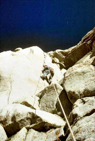 "Urmas Franosch leads the FA of ""Queen Jane"" (5.10d thin-to-hands) in August 1990"