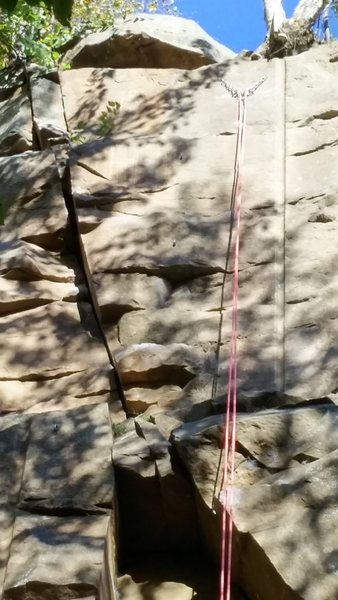 Rock Climbing Photo: Top it out. Left to follow the crack or clip the b...