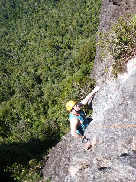 Rock Climbing Photo: Easy slab at the top of pitch 2