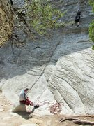 Rock Climbing Photo: Karen, belayed by RKM on the friction start of Pur...
