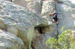 Rock Climbing Photo: Karen, high on Juniper Jam.