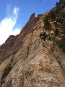 Rock Climbing Photo: Andrew Megas-Russell leading on Pitch 3.