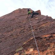 Rock Climbing Photo: Andrew Megas-Russell leading on Pitch 7. This woul...