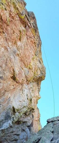 Organized Labor.  The steepness of the route is shown by how far out the rope hangs.