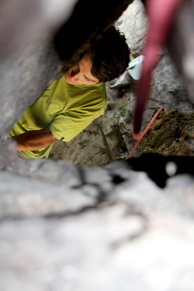 Quincy doing the 2nd ascent on a new boulder problem.