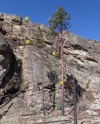 Rock Climbing Photo: Middle Wall topo (after the 2015 fire)