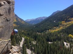 Rock Climbing Photo: Arriving at the second belay on Grotto Wall Traver...