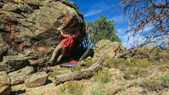 Rock Climbing Photo: Eyeing the move out right to the nothing hold on B...