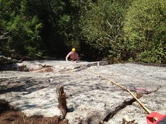 Rock Climbing Photo: Ben Miller just past the crux's 6th bolt