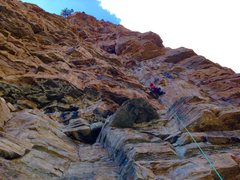 Rock Climbing Photo: Mary H. on pitch 8; this pitch actually seemed mor...