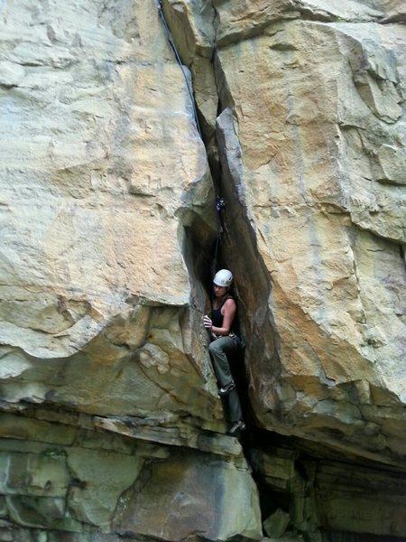 Rock Climbing Photo: Rachel Longo enjoying the wide lower crack.