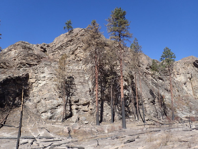 South end of the Lower Crag after the 2015 fire.