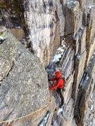 Rock Climbing Photo: Pitch 5, above the chockstone.