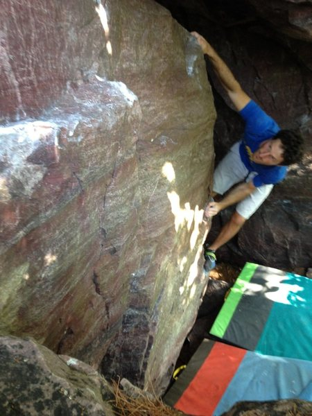 Rock Climbing Photo: Moving around the arete on Oval Office.  Starting ...