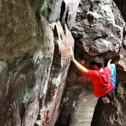 Rock Climbing Photo: The namesake move of the problem