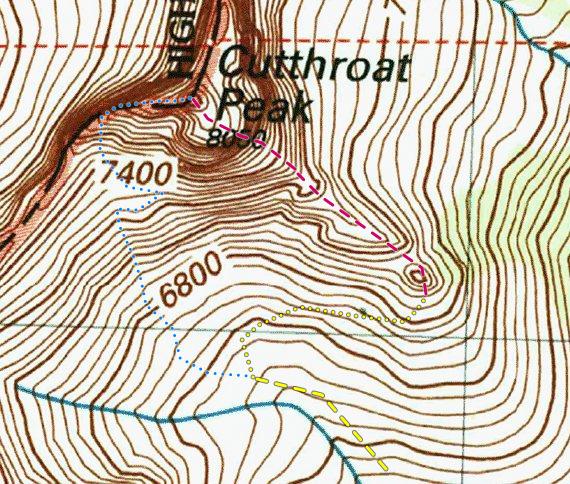 Rock Climbing Photo: Topo of Cutthroat Peak.