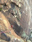 Rock Climbing Photo: Matt following the crux P3.