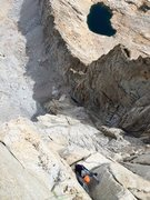 Rock Climbing Photo: Topping out the headwall on P10 of the Beckey-Rees...