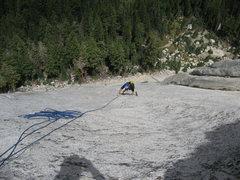 Rock Climbing Photo: Vlada Matena nearing the top of Pitch 3 (5.7 face ...