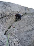 Rock Climbing Photo: Dave Mahler starting up Pitch 4: The Ramp (5.7).