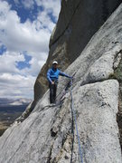 Rock Climbing Photo: Tom Rogers at the belay anchors of Pitch 5.